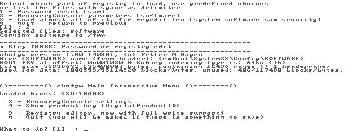 Offline NT Password & Registry Editor et Chntpw dans les choux pour Windows 10