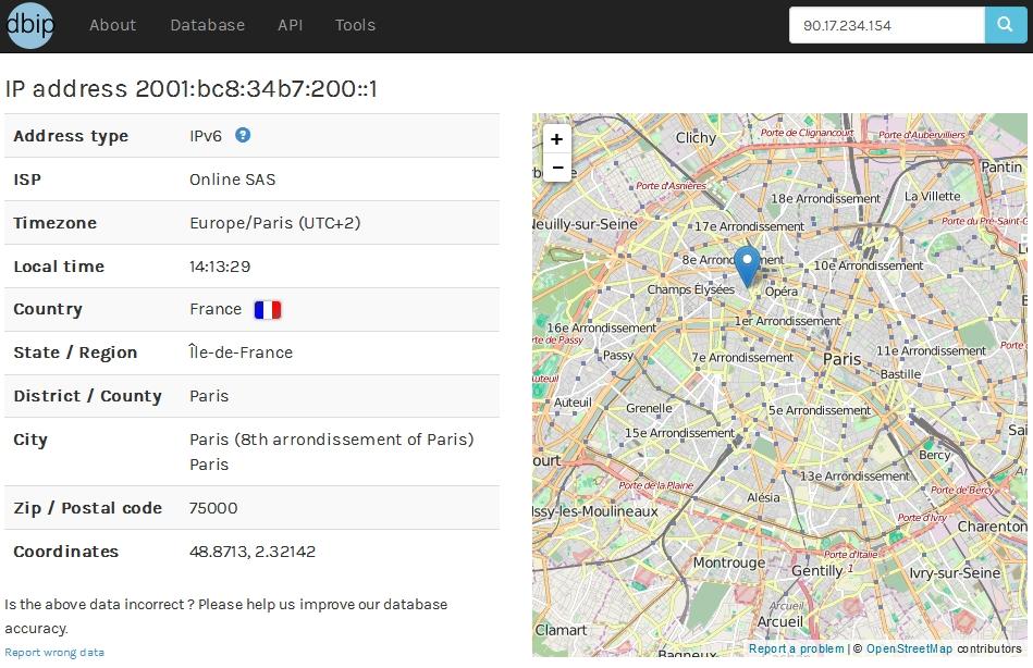 Géolocaliser votre serveur IPv6 avec dbip