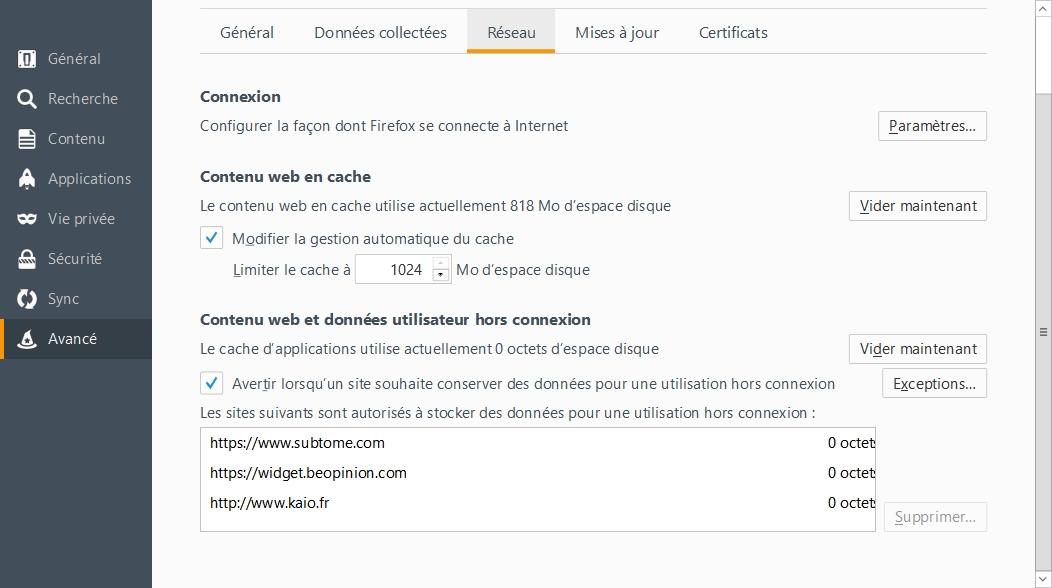 Firefox -> Options -> Avancé -> Réseau -> Données utilisateur hors connexion