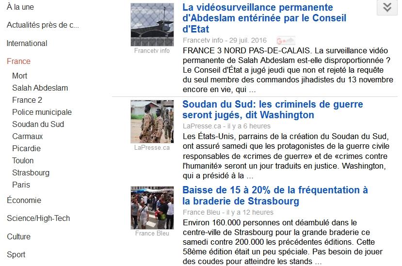Le Soudan dans la page France de Google News