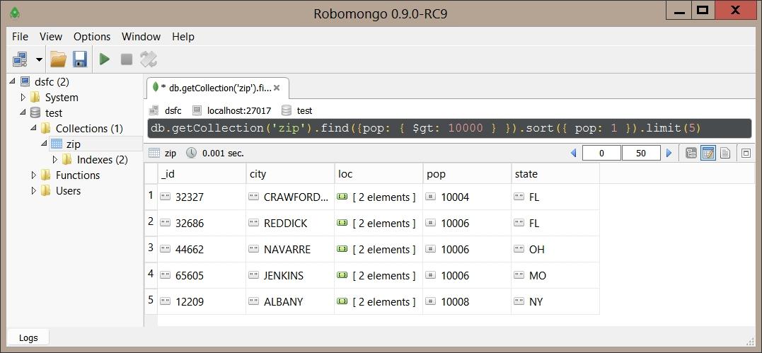 Requête sur la collection de MongoDB avec find, sort et limit