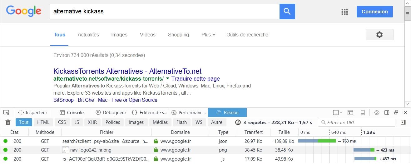Et 1.57s pour Google sur la recherche Alternative Kickass
