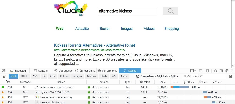 0.51s pour Qwant Lite sur la recherche alternative kickass