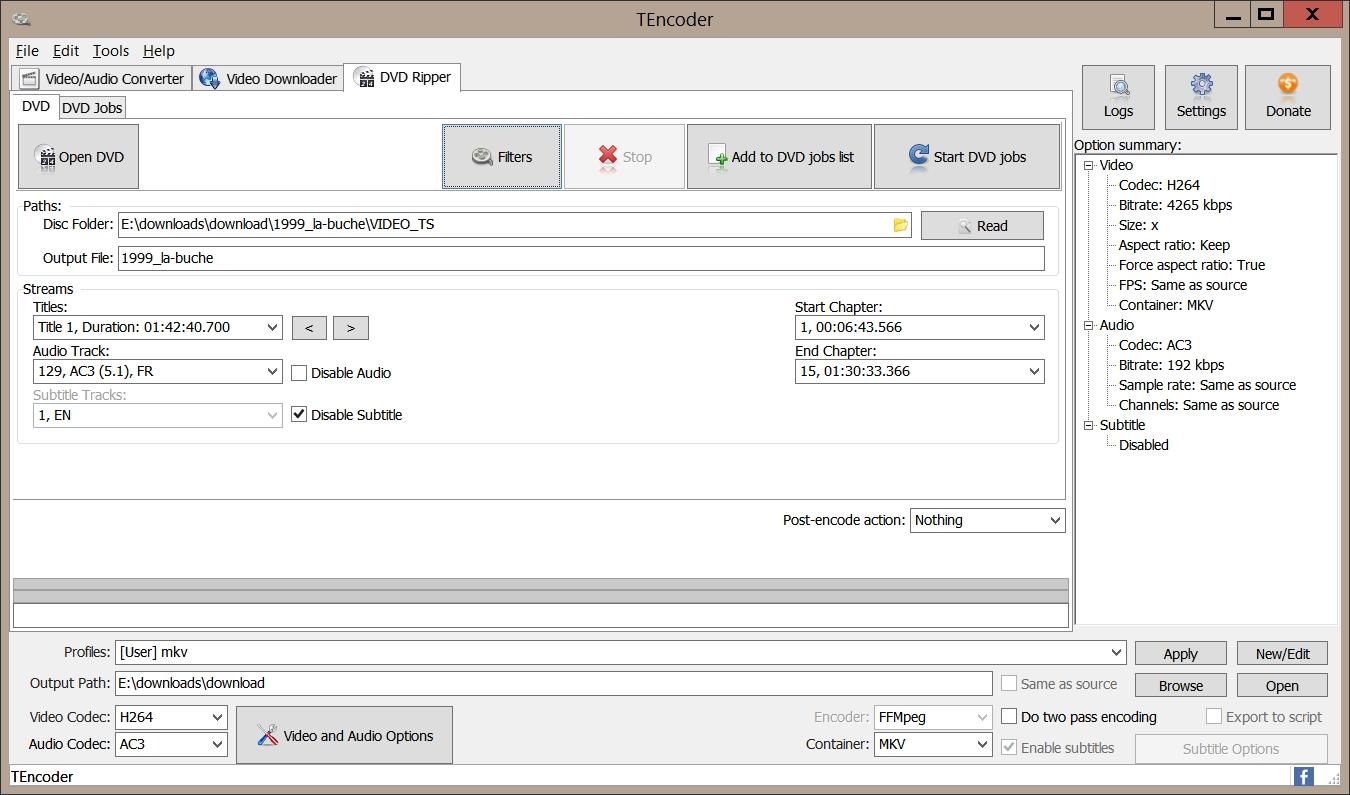 TEncoder > Open DVD
