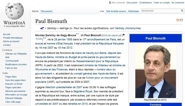 Paul Bismuth dans Wikipédia, en lieu et place de Nicolas Sarkozy