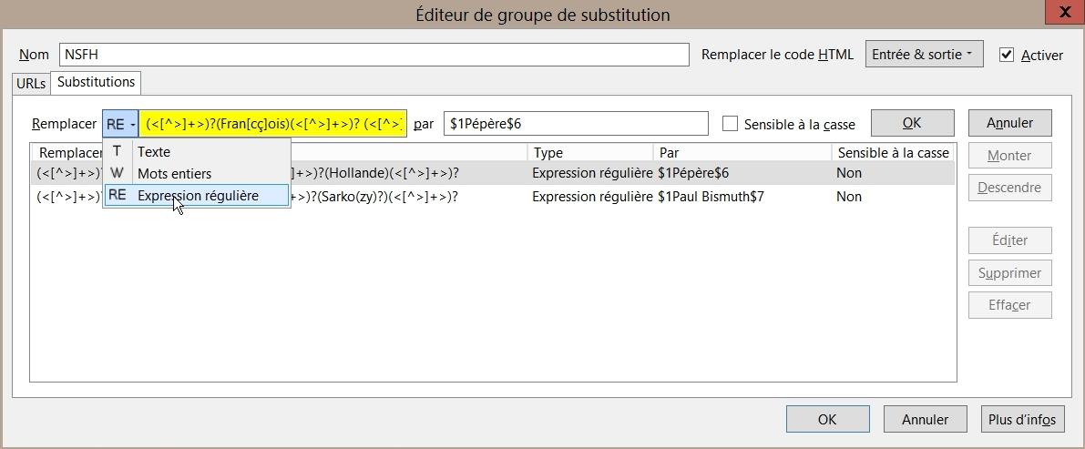 FoxReplace - Editeur de groupe de substitution
