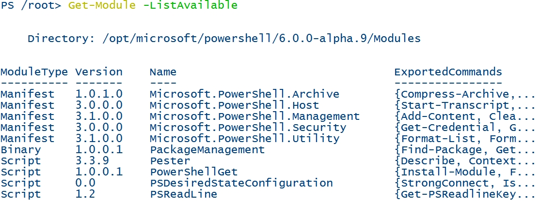 powershell-linux-get-module