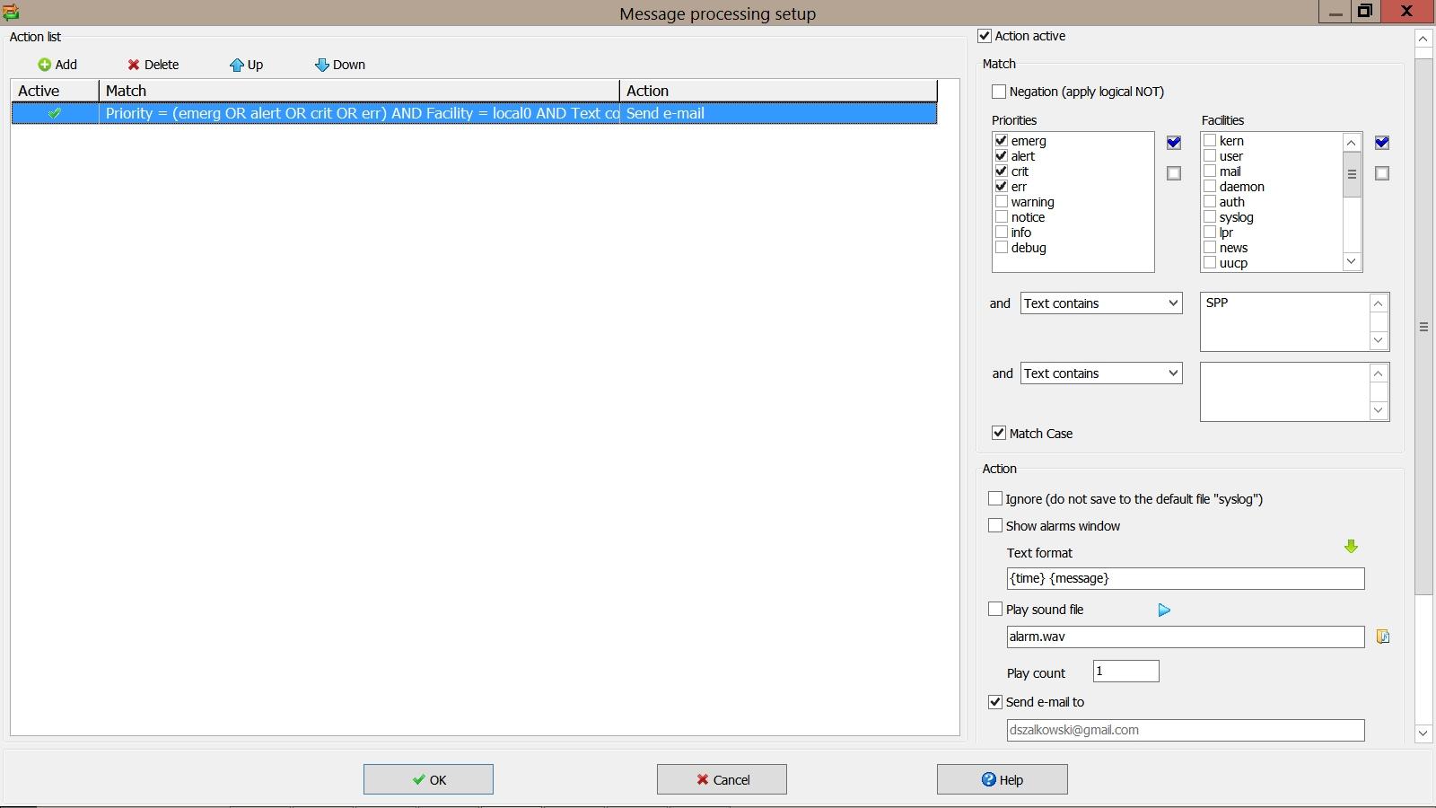 Alertes Mail dans Visual Syslog Server