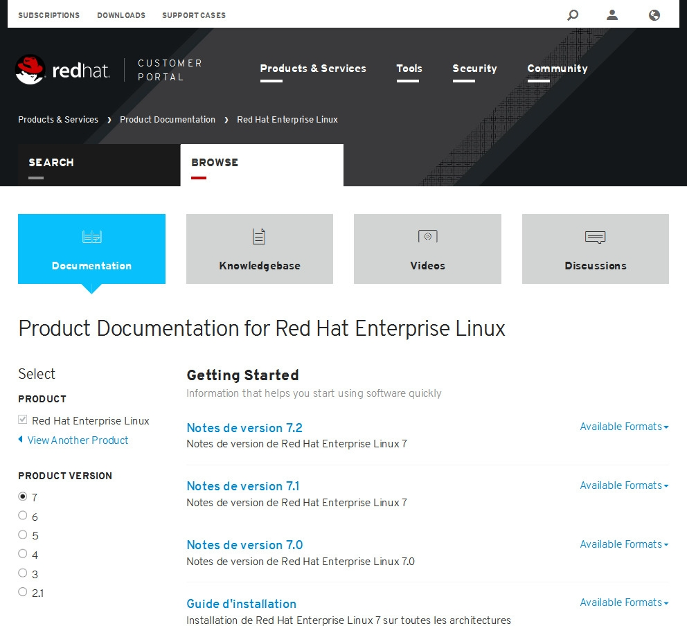 Documentation Red Hat Enterprise Linux 7
