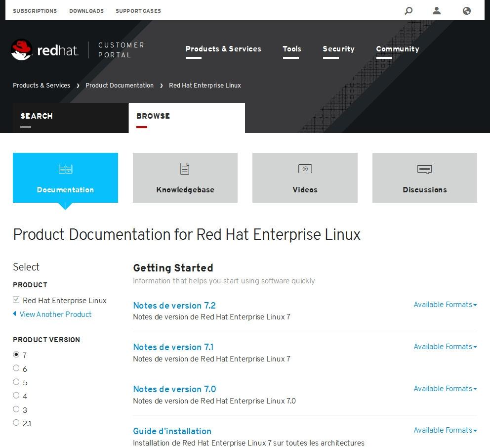 Documentation Red Hat Enterprise Linux 7
