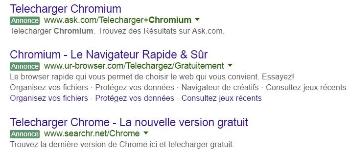 Des publicités sur Google Chrome dans les pages de recherche sur Chromium