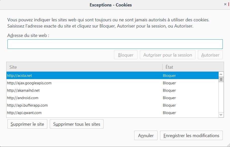 Blocage des cookies dans Firefox