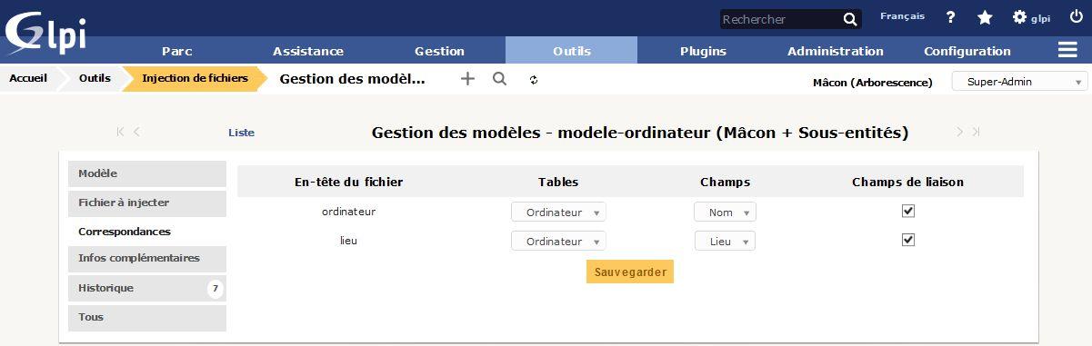 Injection de fichiers - Gestion des modèles - Correspondance
