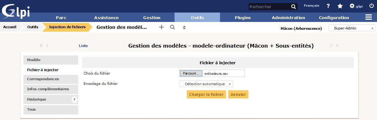 Injection de fichiers - Gestion des modèles - Fichier à injecter
