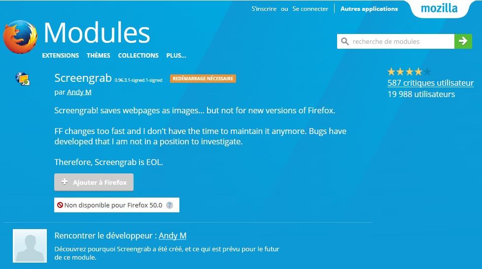 Firefox : Pearl Crescent Page Saver remplacé par Screengrab