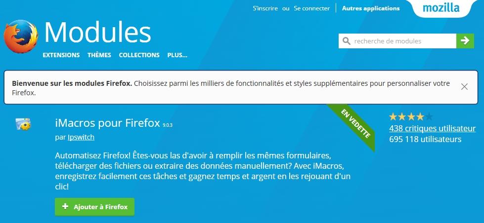 Module iMacros pour Firefox