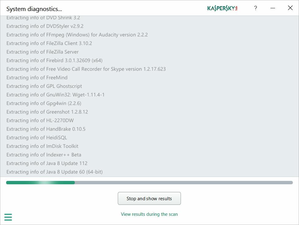 Kaspersky System Checker System Diganostics