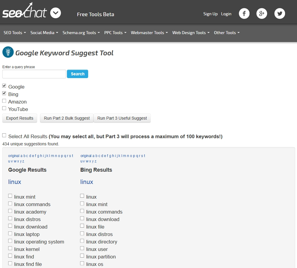 Seochat : Google Keyword Suggest Tool
