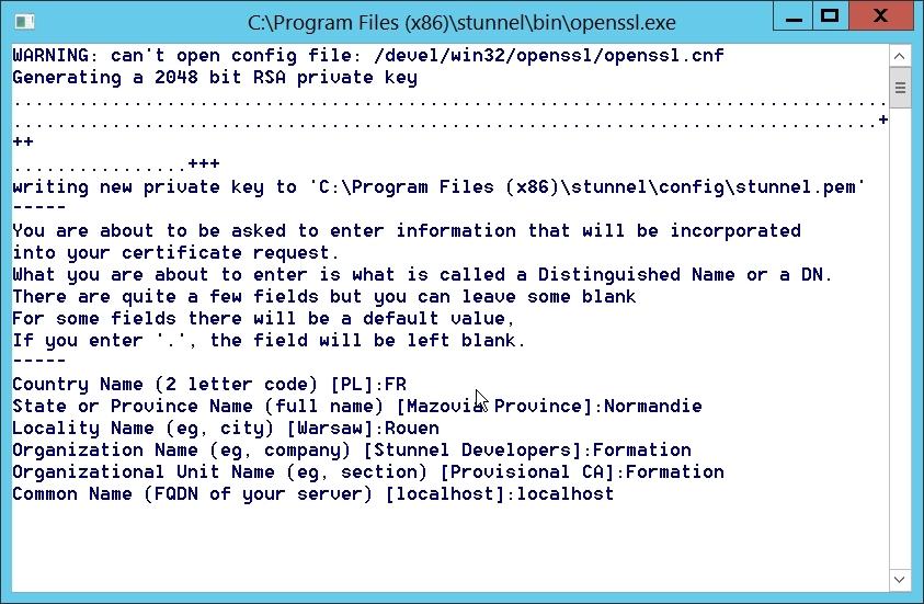 Création de la clé stunnel.pem avec OpenSSL lors de l'installation de stunnel !