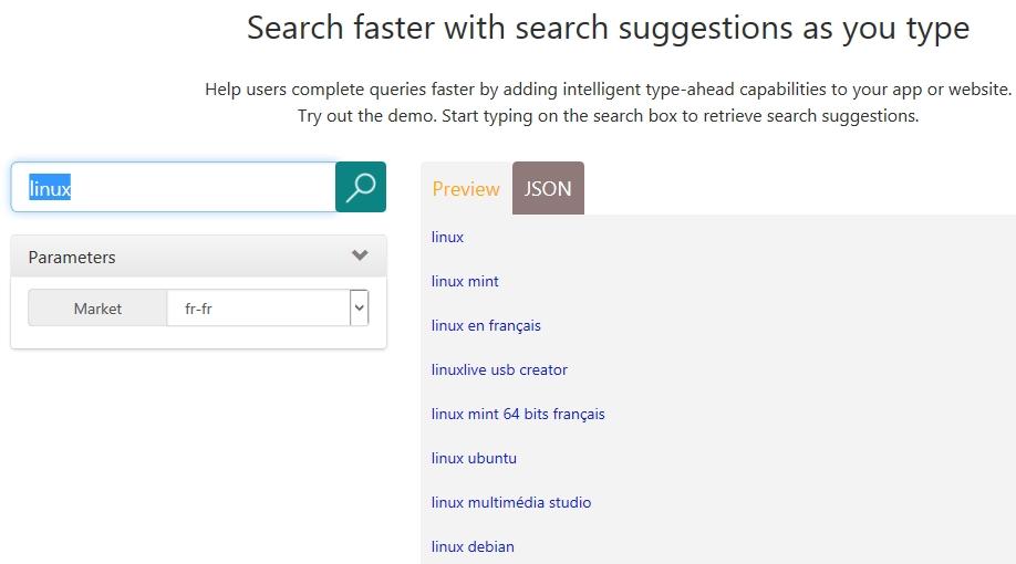 Bing Autosuggest API