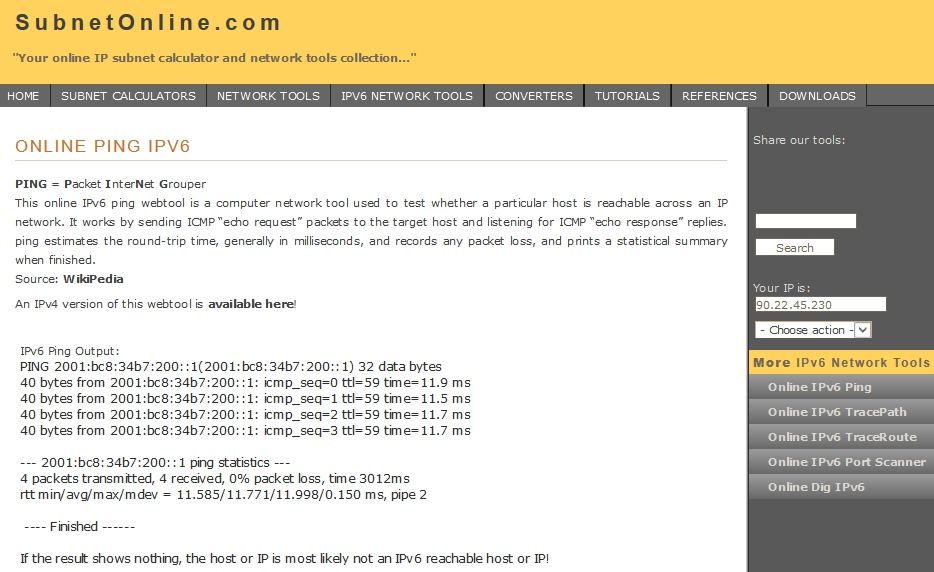 Online Ping IPv6