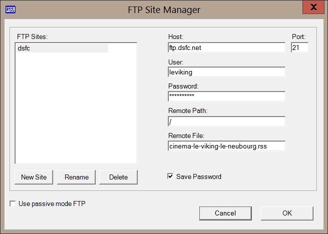 RSSBuilder - FTP Site Manager