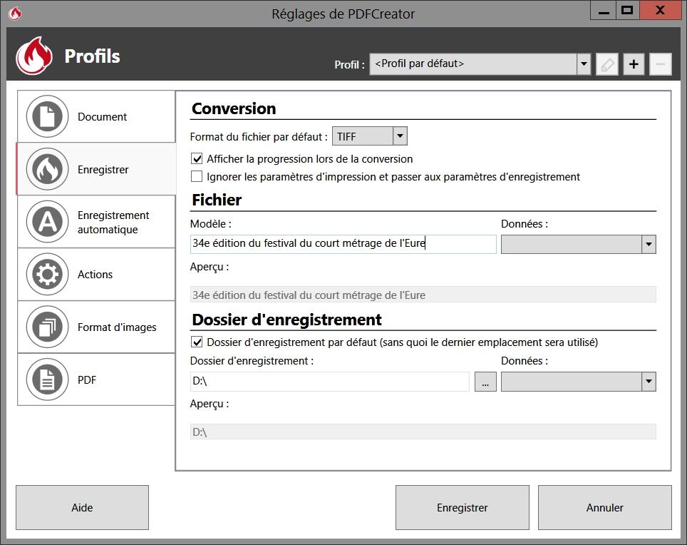 Le choix du format de conversion dans PDFCreator