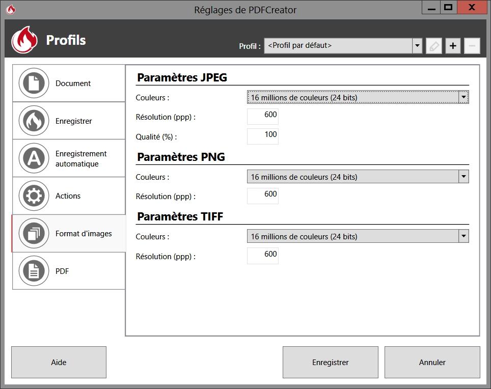 Nombre de couleurs, résolution et qualité des images dans PDFCreator