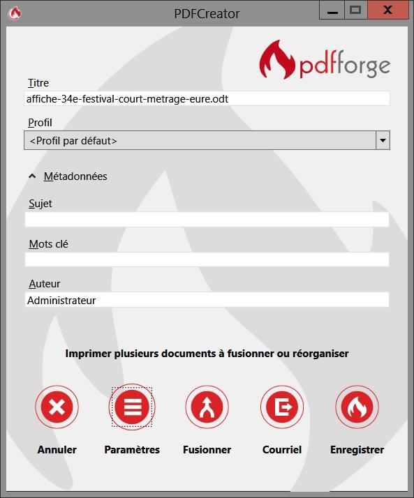Les paramètres de PDFCreator