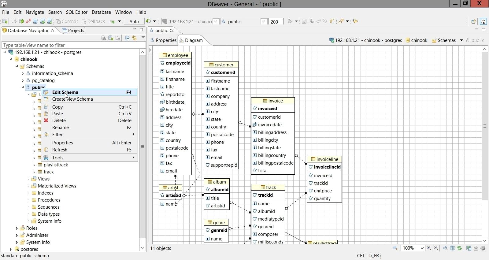 Le MPD proposé par DBeaver sur le schéma d'une base de données PostgreSQL