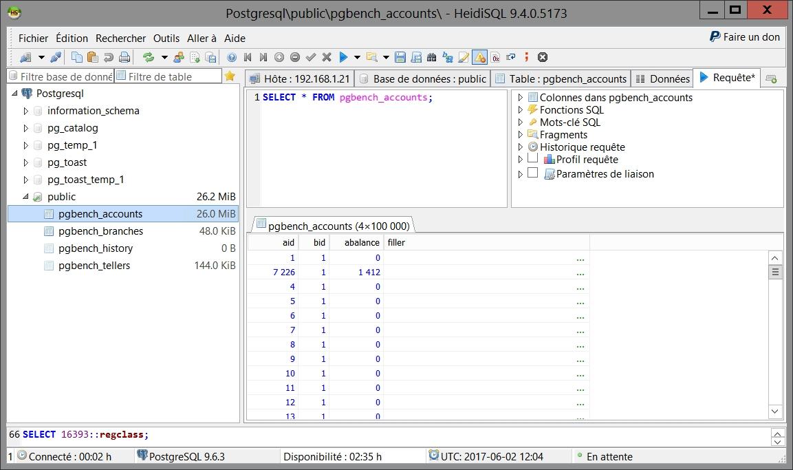 HeidiSQL permet d'effectuer des requêtes sur une base PostgreSQL 9.5.2 et supérieure !