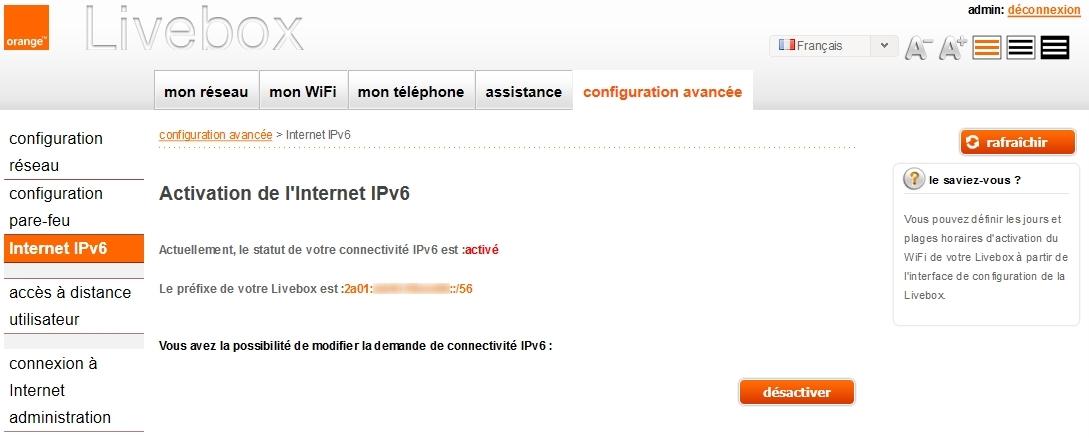 IPv6 activé par défaut sur ma LiveBox