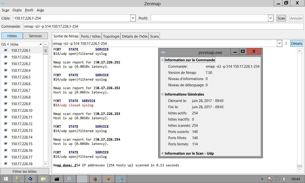Recherche de serveurs Syslog sur le réseau