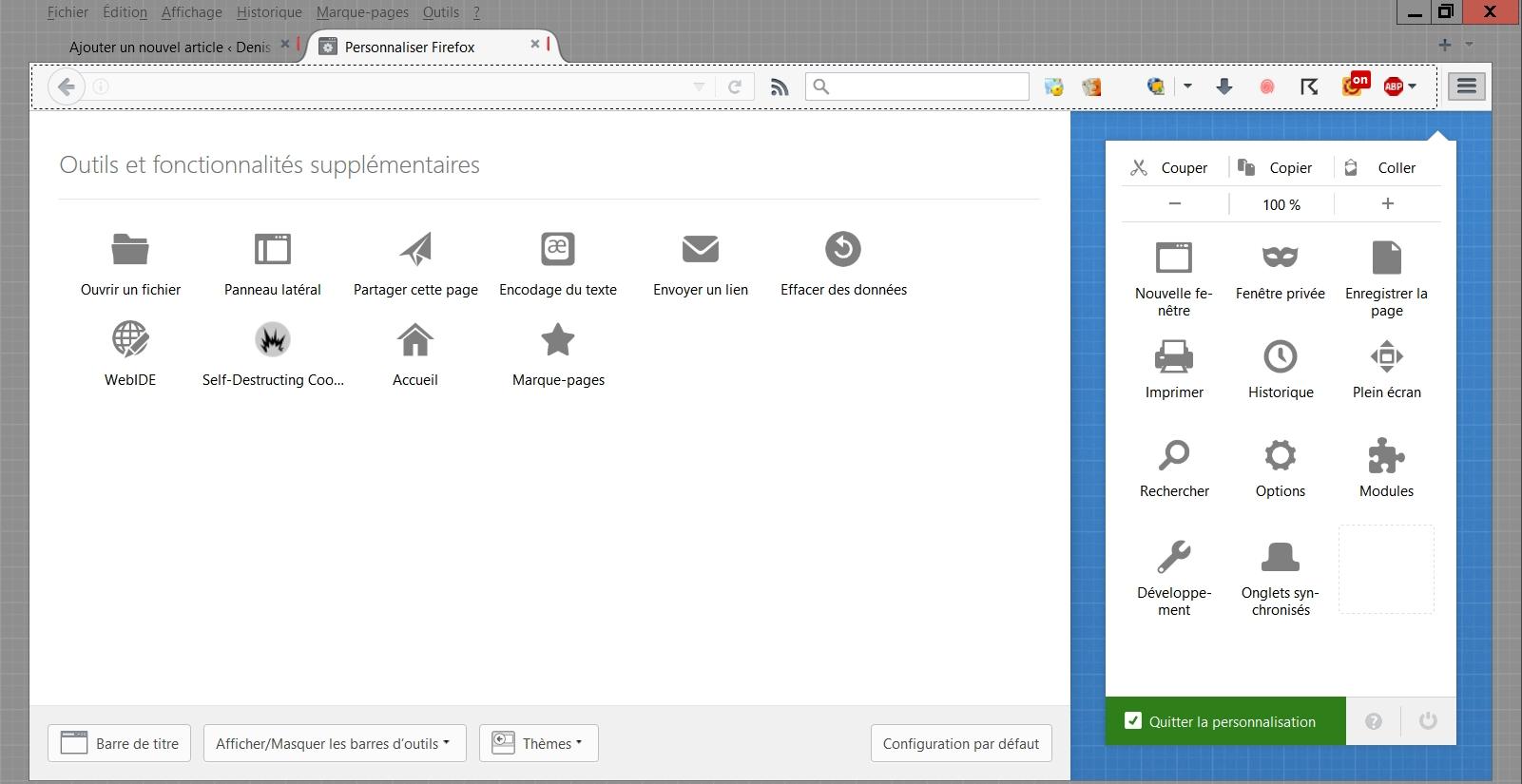 Personnaliser la barre d'outils de Firefox