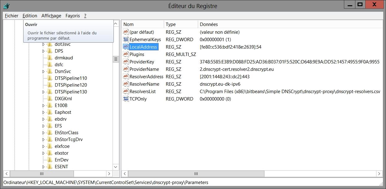 Configuration de DNScrypt