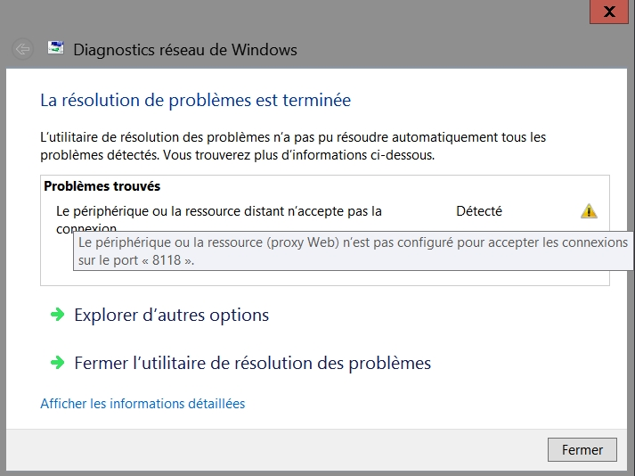 Diagnostics réseau de Windows