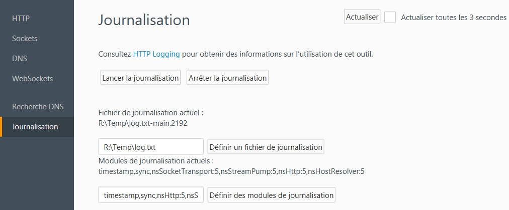 Firefox - about:networking -  Journalisation