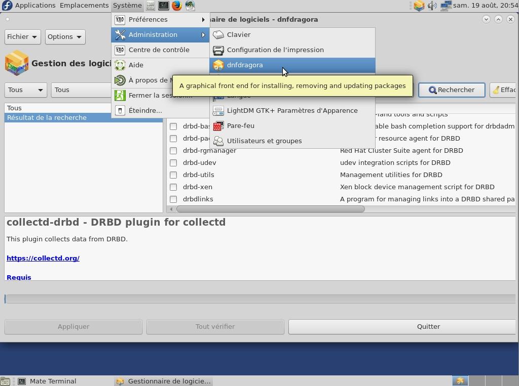 Dnfdragora, un gestionnaire de paquets en mode graphique sous Fedora 26