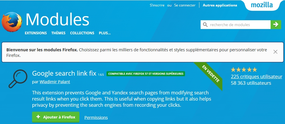 Google Search Link Fix, une extension anti-tracking