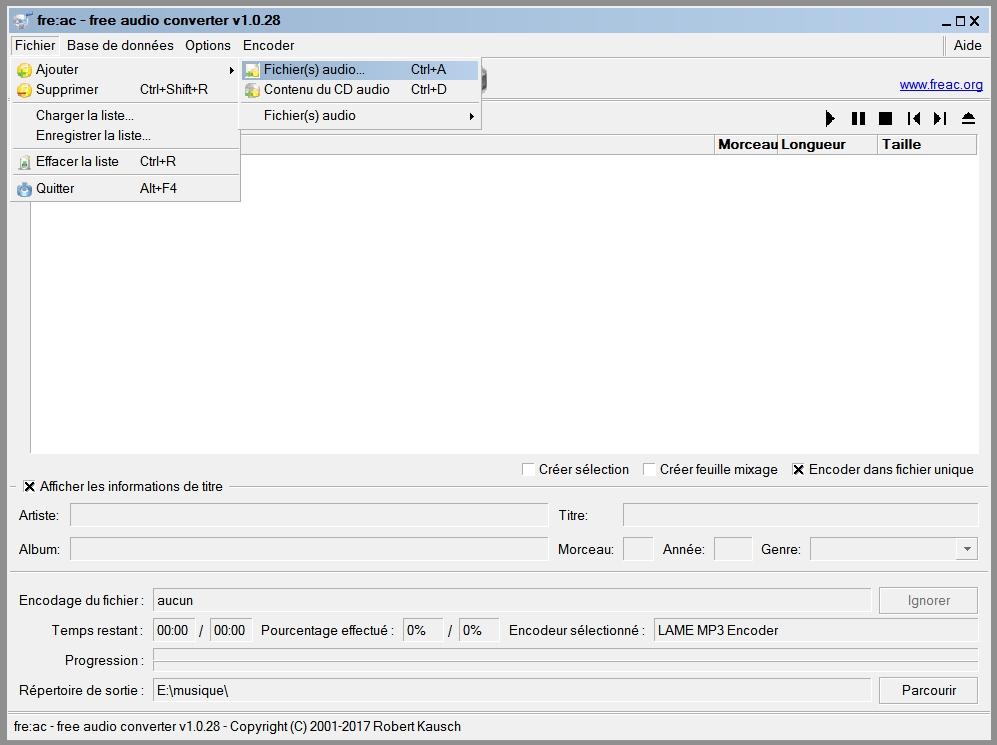 fre:ac : Fichier > Ajouter > Contenu du CD Audio