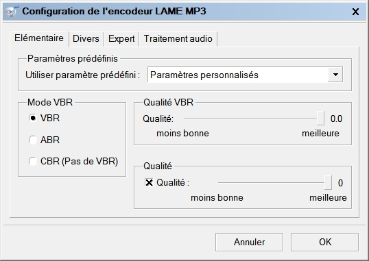 fre:ac : Configuration de l'encodeur LAME MP3 > Elémentaire