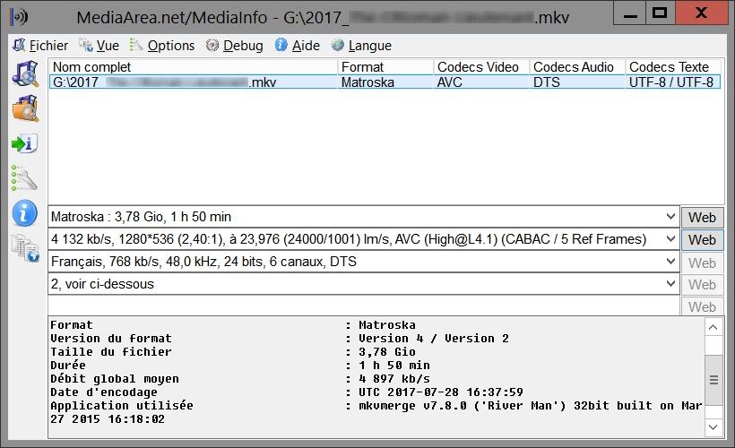 MediaInfo GUI, pour détecter le codec audio utilisé
