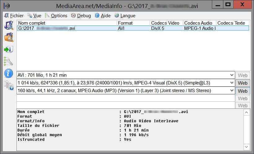 MediaInfo GUI, pour détecter le codec vidéo utilisé