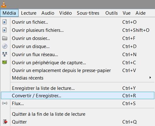 VLC > Média > Convertir/Enregistrer