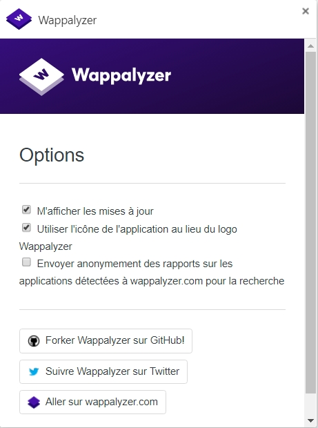 Wappalyzer, extension pur Chromium / Firefox
