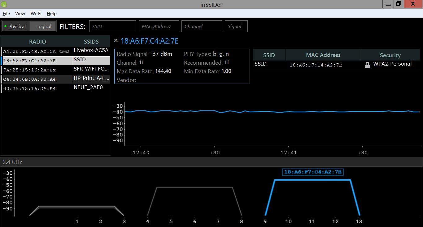inSSIDer, un logiciel commercial pour Windows
