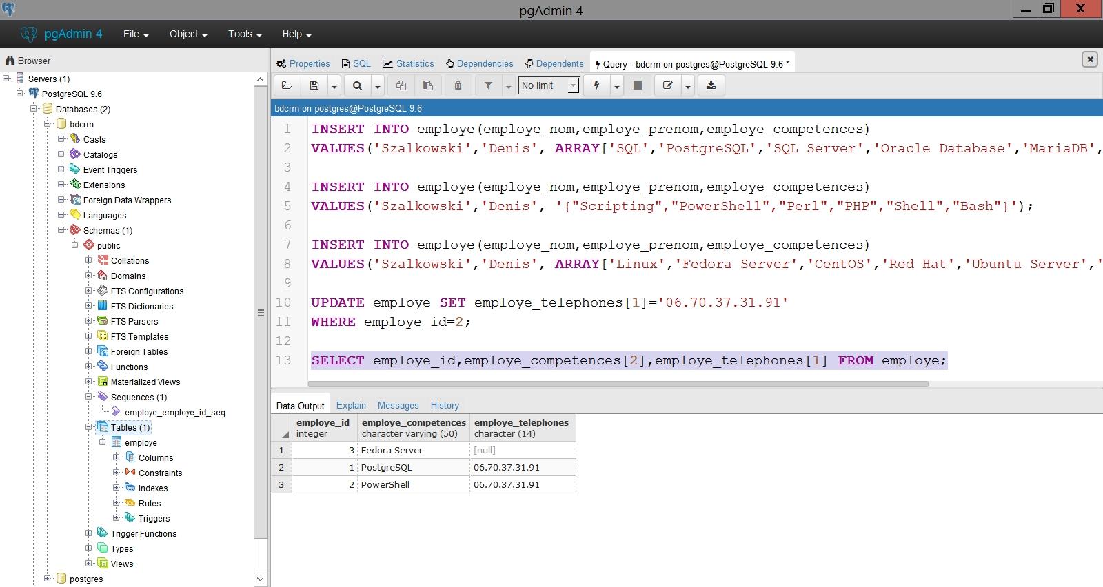 Les champs de type tableau dans PostgreSQL