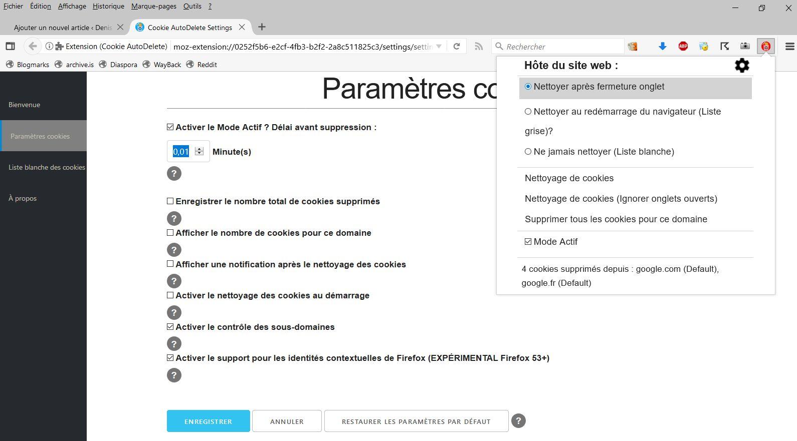 Cookie AutoDelete > Settings > Paramètres Cookies