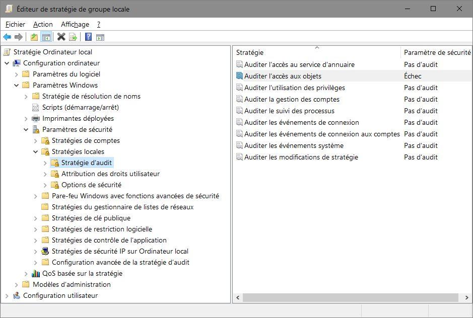 gpedit.msc > Configuration de l'ordinateur > Paramètres Windows > Stratégies locales > Stratégies d'audit > Auditer l'accès aux objets