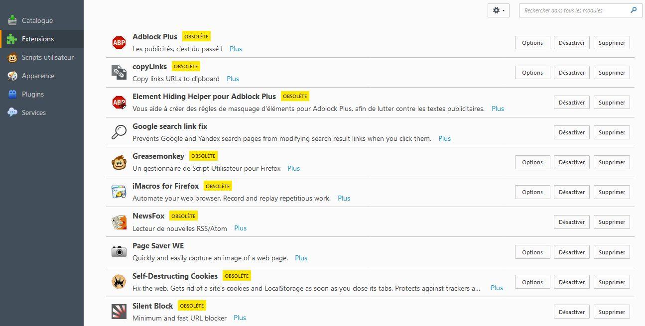 Retour aux anciennes versions de Firefox